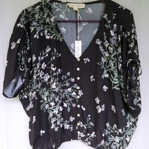 NWT Love Stitch black floral top